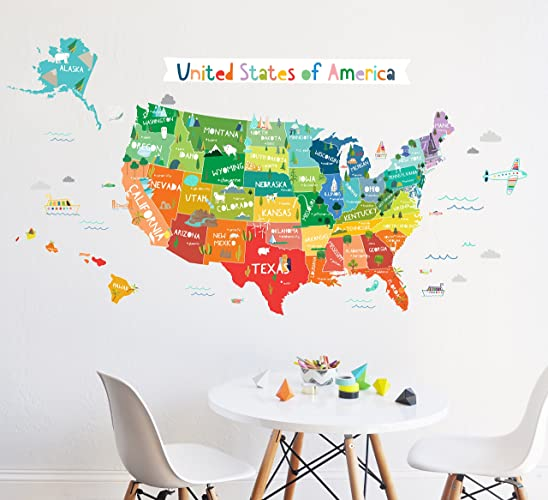 United States Map Wall Decor.Amazon Com Wall Decal Bright Usa Map Map Wall Decor