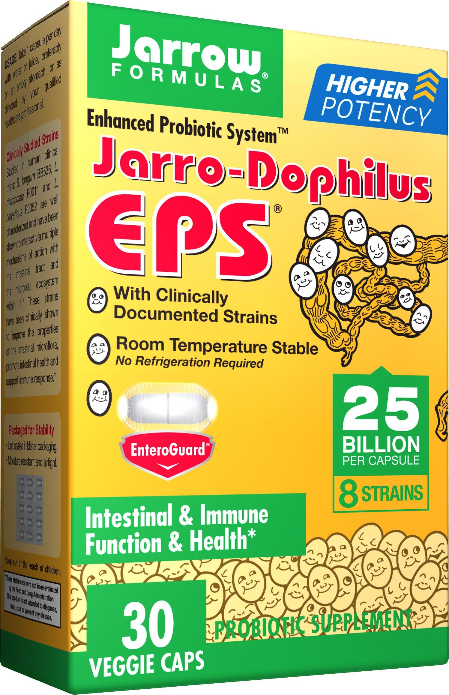 Jarrow Formulas Jarro-Dophilus EPS, Supports Intestinal Health,  25 Billion Per Capsule, Supports Gastrointestinal Health, 30 Caps (Cool Ship, Pack Of 2)