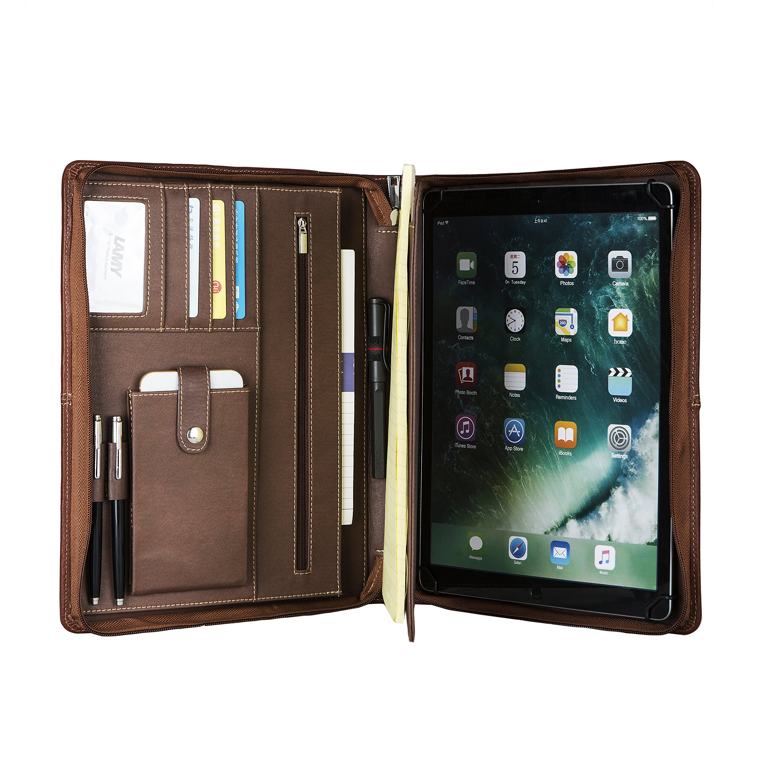 Coface Professional Interview Zipper Portfolio Binder, Office Organizer Document Holder Padfolio, Business Folder by Genuine Leather with Handle for iPad, Engraved Custom Monogrammed