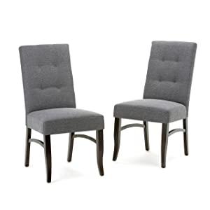 Simpli Home AXCDCHR-003-GL Ezra Contemporary Deluxe Dining Chair (Set of 2) in Slate Grey Linen Look Fabric