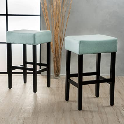 Pleasant Amazon Com Ester Mid Century Sky Blue Fabric Backless Lamtechconsult Wood Chair Design Ideas Lamtechconsultcom