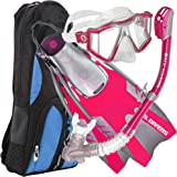 U.S. Divers Lux Platinum Snorkel Set Compatible with GoPro - Panoramic View Mask, Pivot Fins, Dry Top Snorkel + Gear Bag