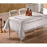 """Rectangular Extra Large Luxury Tablecloth in White With Lace Edges and Lace Inserts 160 x 320CM White (63"""" x 126"""")"""