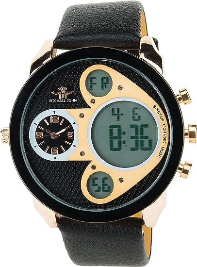 Reloj Hombre MICHAEL JOHN Negro Oro Cuarzo Acero pantalla analógica Digital Alarma - Cronógrafo Doble Zona horaria Deporte Modo Pulsera Negro Cuero: ...