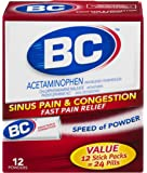 BC Powder, Sinus & Congestion, Acetaminophen, 12 Count, Pack of 3