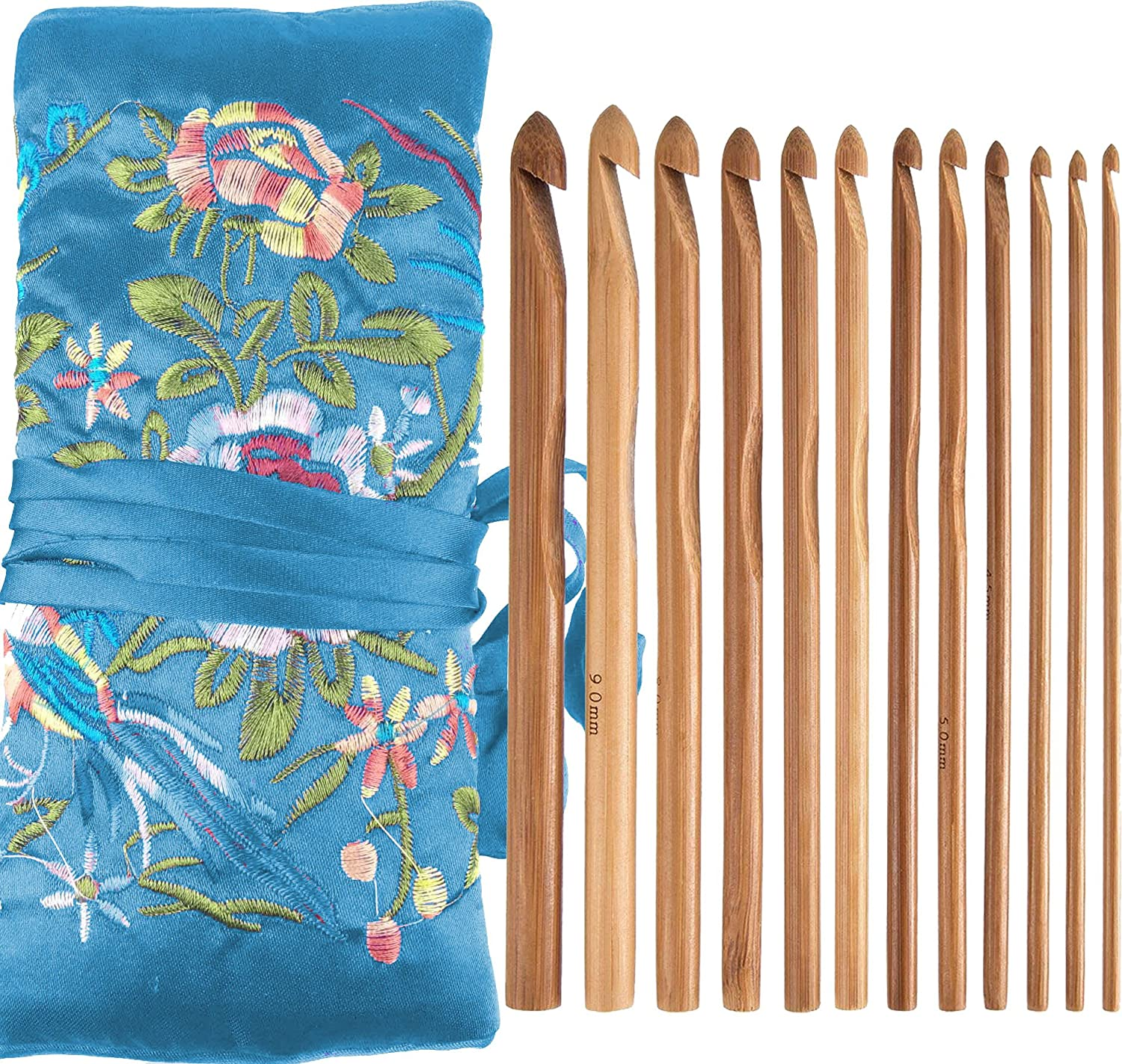 Bamboo Crochet Hooks Knitting Needles Set Kit in a Kntting Bag Case for Beginners and Professionals(12-Pack 3mm-10mm) RosaDIY