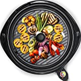 Elite Gourmet Large Indoor Electric Round PFOA-Free, Nonstick Grill Cool Touch Fast Heat Up Ideal Low-Fat Meals Easy to Clean