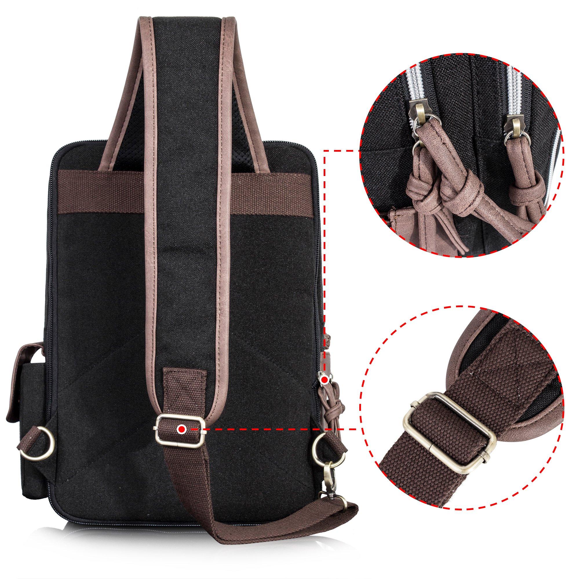 Leaper Retro Messenger Bag Outdoor Cross Body Sling Bag Travel Bag Shoulder Backpack (Black3103) by Leaper (Image #4)