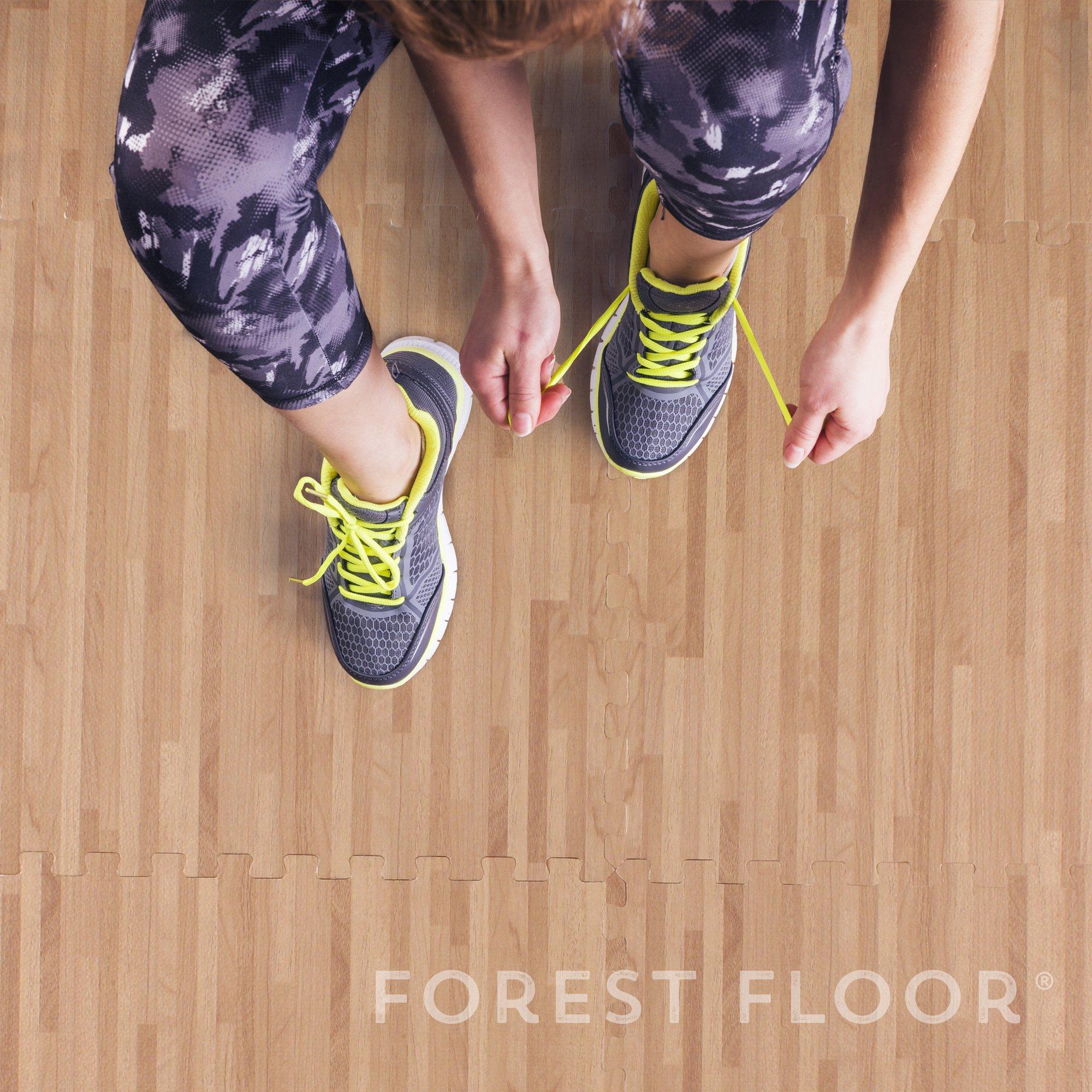 Forest Floor 3/8'' Thick Printed Wood Grain Interlocking Foam Floor Mats, 16 Sq Ft (4 Tiles), White Oak by Forest Floor (Image #6)