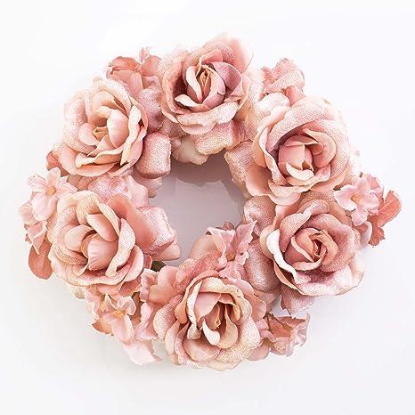 Artplants – Anillo XXL con flores artificiales de rosas y de Hortensia, rosa, diámetro