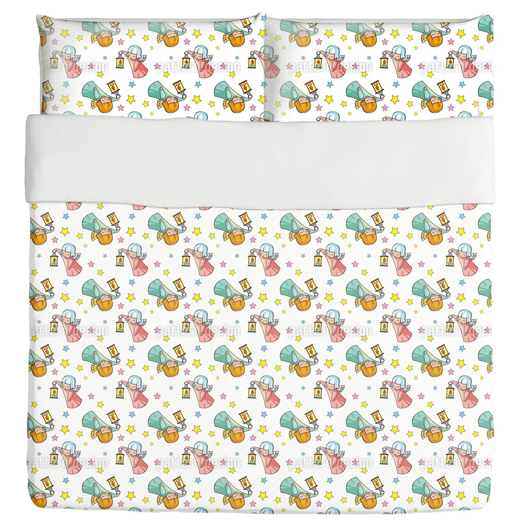 Cute Angels Duvet Bed Set 3 Piece Set Duvet Cover - 2 Pillow Shams - Luxury Microfiber, Soft, Breathable by uneekee