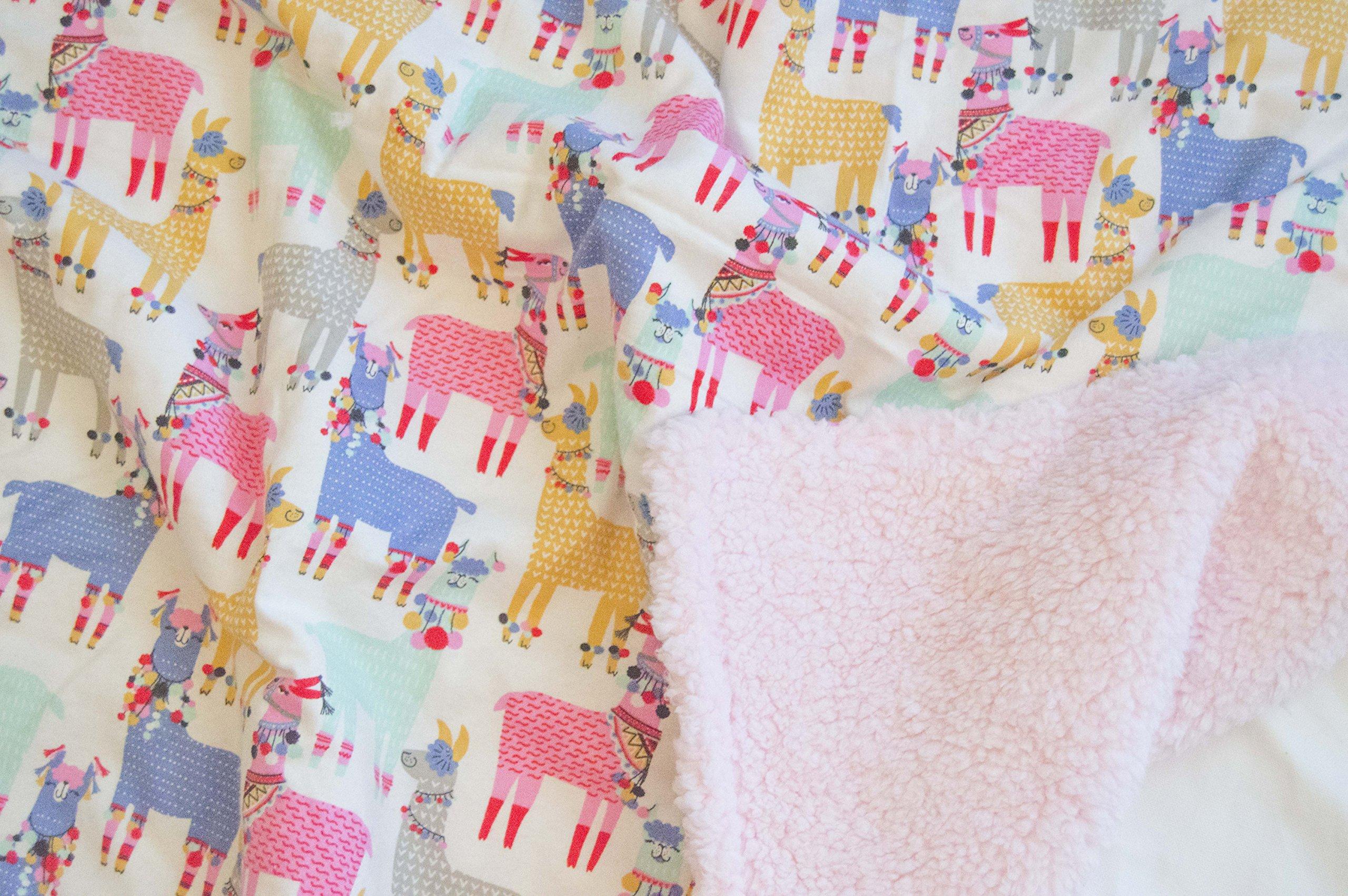 ALPACA PARTY Baby Blanket: colorful fun baby blanket, girl baby blanket, llama blanket, personalized baby blanket, monogrammed blanket