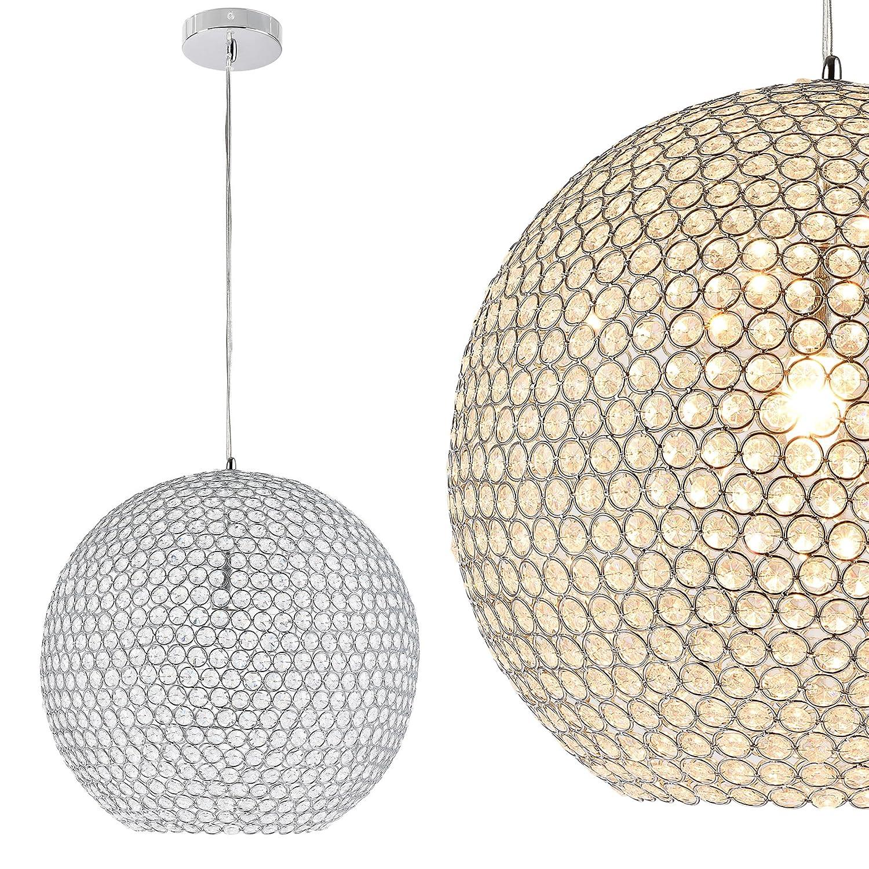 Kugel-Lüster Deckenleuchte / Deckenlampe - Crystal - von [lux.pro]® - Modernes Design: Kron-leuchter aus Aluminium & Kunst-Kristall - Ø 40 cm mit 1 x E14 Sockel - für Wohnzimmer & Schlafzimmer Deckenleuchte Art 167315