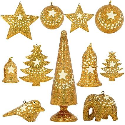 set of 11 gold star paper mache decorative christmas ornaments handmade xmas decor - Gold Christmas Ornaments