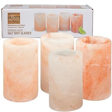 Himalayan Salt Shot Glasses, Set of 4 All-Natural FDA Approved 3  Pink Salt Glasses -Tequila Shot Glasses
