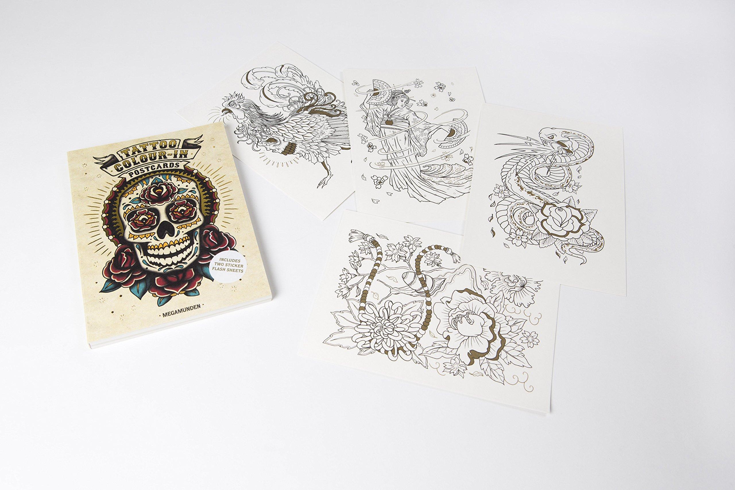 The tattoo coloring book megamunden - Tattoo Color In Postcards Megamunden 9781856699594 Amazon Com Books