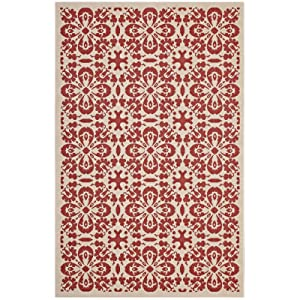 Modway R-1142D-810 Ariana Vintage Floral Trellis Indoor and Outdoor Area Rug, 8x10, Red and Beige