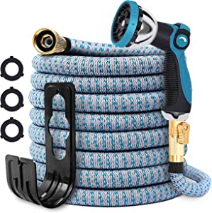 Expandable Garden Hose, 25ft Flexible Water Hose with 10 Function Spray Nozzle,3/4
