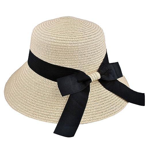 6e715ab5 EINSKEY Womens Straw Sun Hat Bowknot Wide Brim Bucket Hat with Neck Cord for  Summer Beach