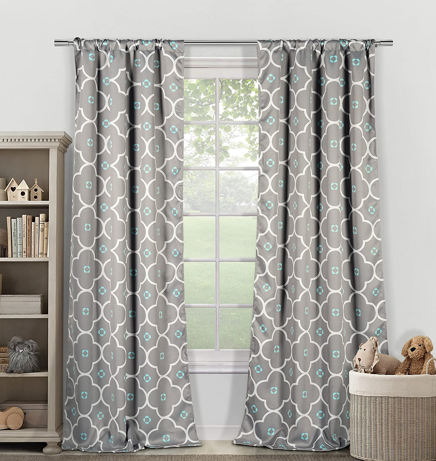 Amazon Duck River Textiles Lala Plus Bash Kids Heavy Blackout Pair Panel 40 Inch By 84 Ginger Grey Blue Set Of 2 Home Kitchen