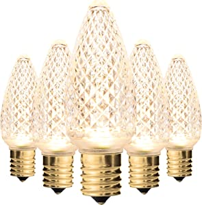 Holiday Lighting Outlet Faceted C9 Christmas Lights | Sun Warm White LED Light Bulbs Holiday Decoration | Warm Christmas Decor for Indoor & Outdoor Use | 3 SMD LEDs in Each Light Bulb | Set of 25