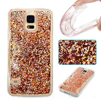 DAMONDY Galaxy S5 Case,S5 Case, 3D Cute Bling Liquid Glitter Floating Quicksand Diamond Water Flowing Ultra Clear Soft TPU Case for Samsung Galaxy ...