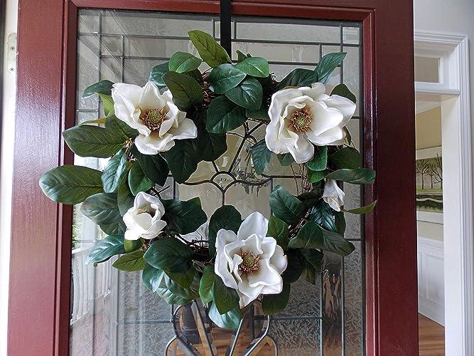 Amazon Com Handmade Magnolia Wreath With Flowers For Front Door