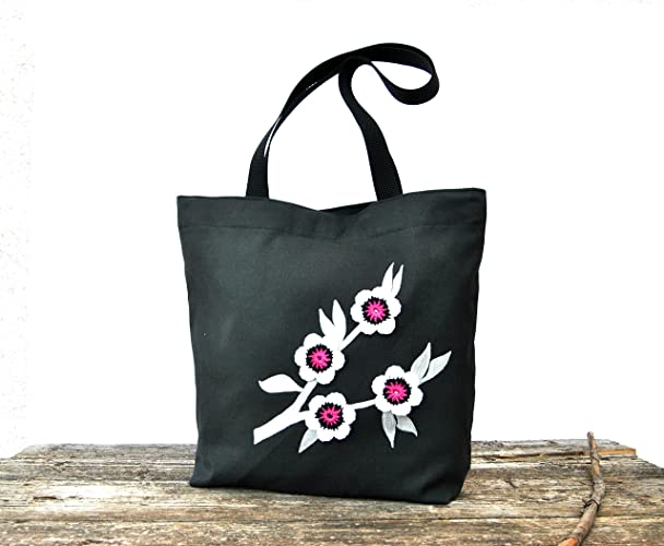 Amazon.com: Canvas Tote bag with long handles in Black Canvas ...