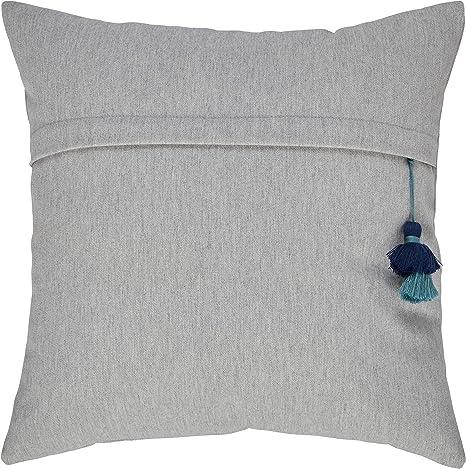 Amazon Com Amazon Brand Stone Beam Casual Tassel Throw Pillow 17 X 17 Inch Light Grey Home Kitchen