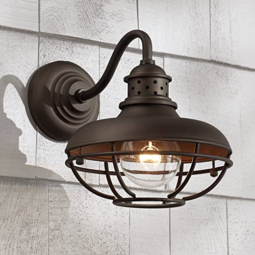Franklin Park Rustic Outdoor Wall Light Fixture Farmhouse Bronze 9 Caged for Exterior House Deck – Franklin Iron Works