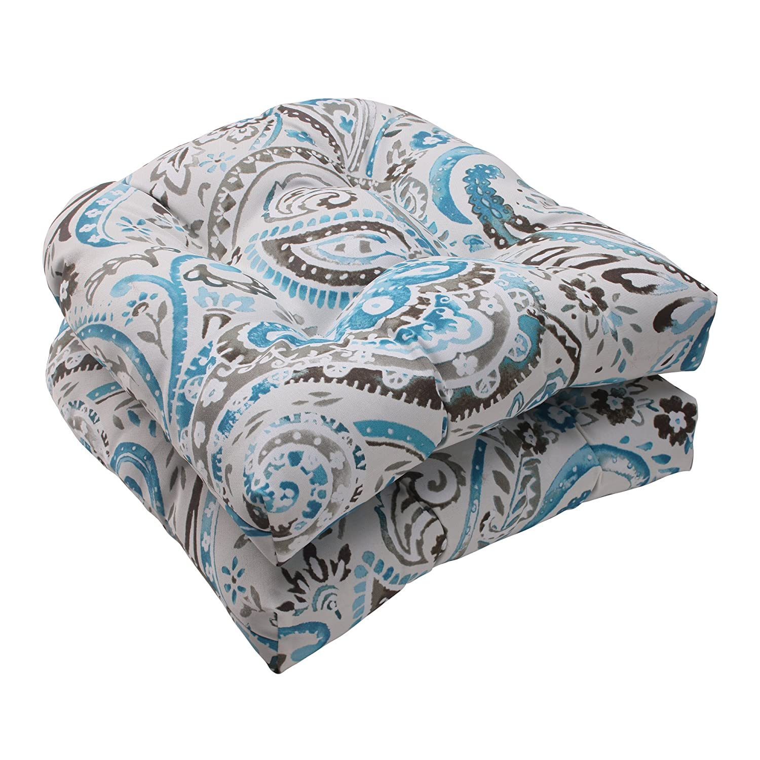 Gentil Amazon.com: Pillow Perfect Indoor/Outdoor Paisley Wicker Seat Cushion,  Tidepool, Set Of 2: Home U0026 Kitchen