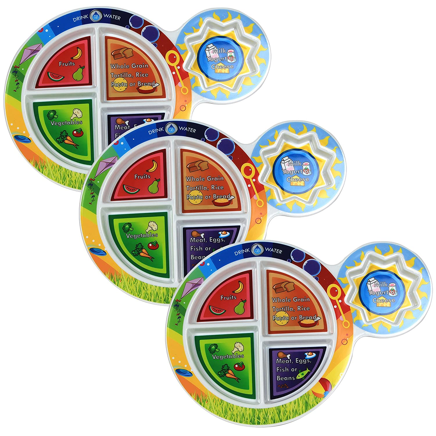 Fresh Baby Kid's 5-Section My Plate (3-Pack), 7, Multicolor 7 13511-3PK