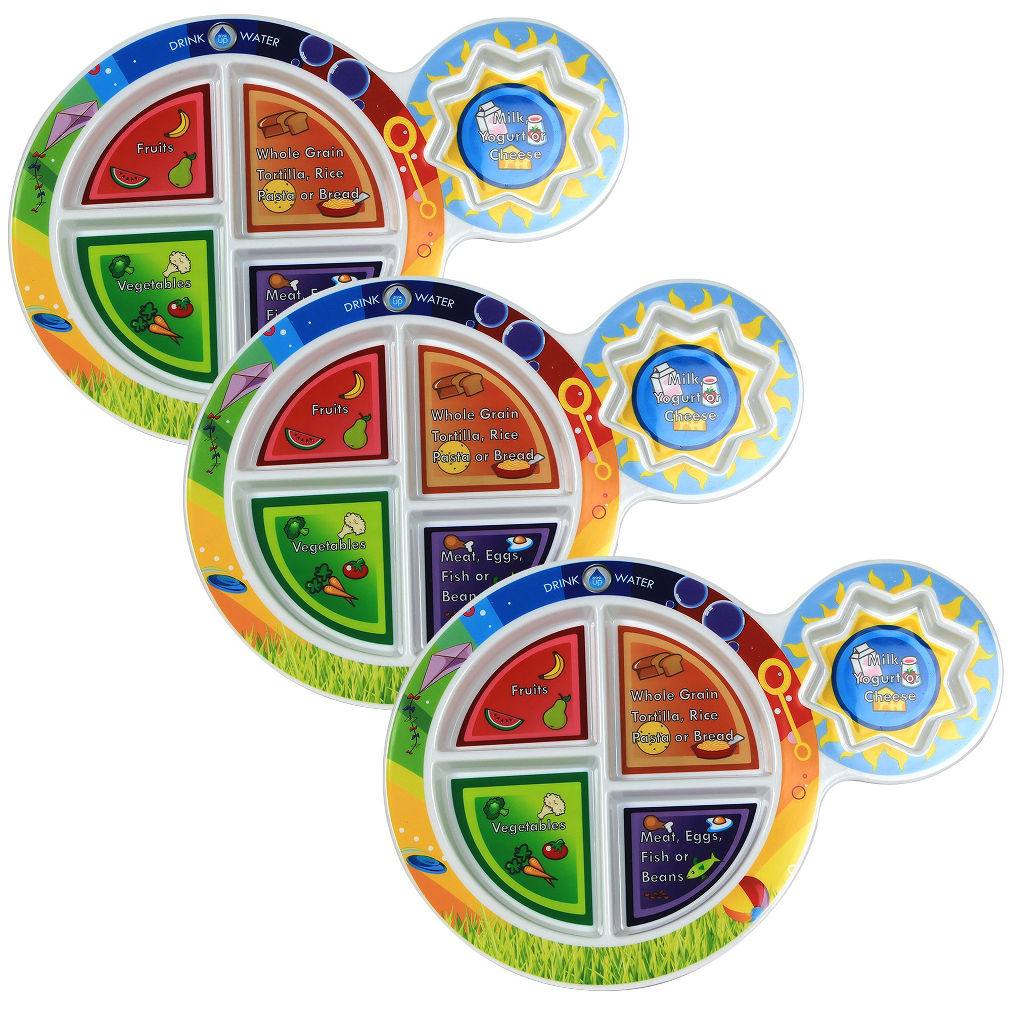 Fresh Baby Kid's 5-Section My Plate (3 Pack), 7'', Multicolor