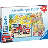 Ravensburger - 09401 - Puzzle Enfant Classique - Les Pompiers au Travail - 3 x 49 Pièces