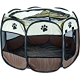Pet Play Pen Animal Playpen Puppy Dog Rabbit Fun Protection Secure Folding Cage Crate Fabric Fence Indoor Outdoor Home Garden - Medium
