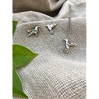 Collar y aretes de colibrí en concha de abulón cortados a mano, con cadena y poste de acero inoxidable, regalo ideal