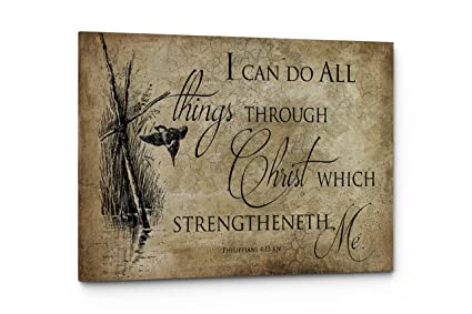 Amazon.com: Bible Verse I Can Do It All Wall Art Quote, Christian ...