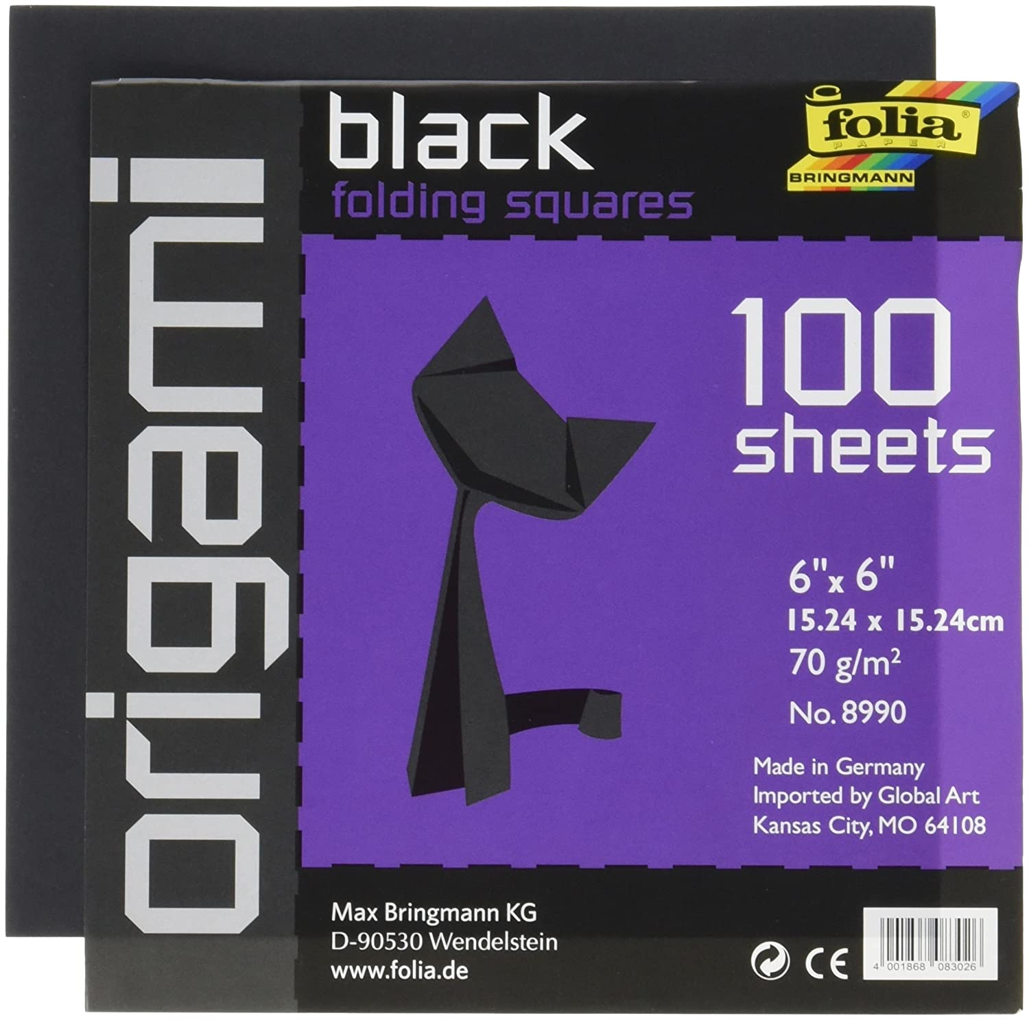 Global Art Folia Origami Paper 6-Inch-by-6-Inch black 100 Sheets Global Art Materials 8990