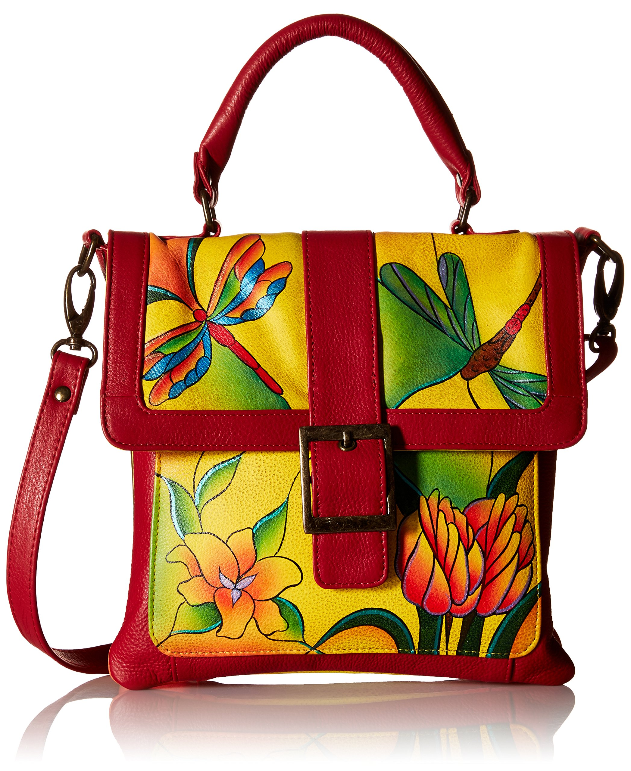 Anuschka Handpainted Leather 8074-DGP-Y Flap Saddle Bag, Dragonfly Glass Painting/Yellow, One Size by Anna by Anuschka