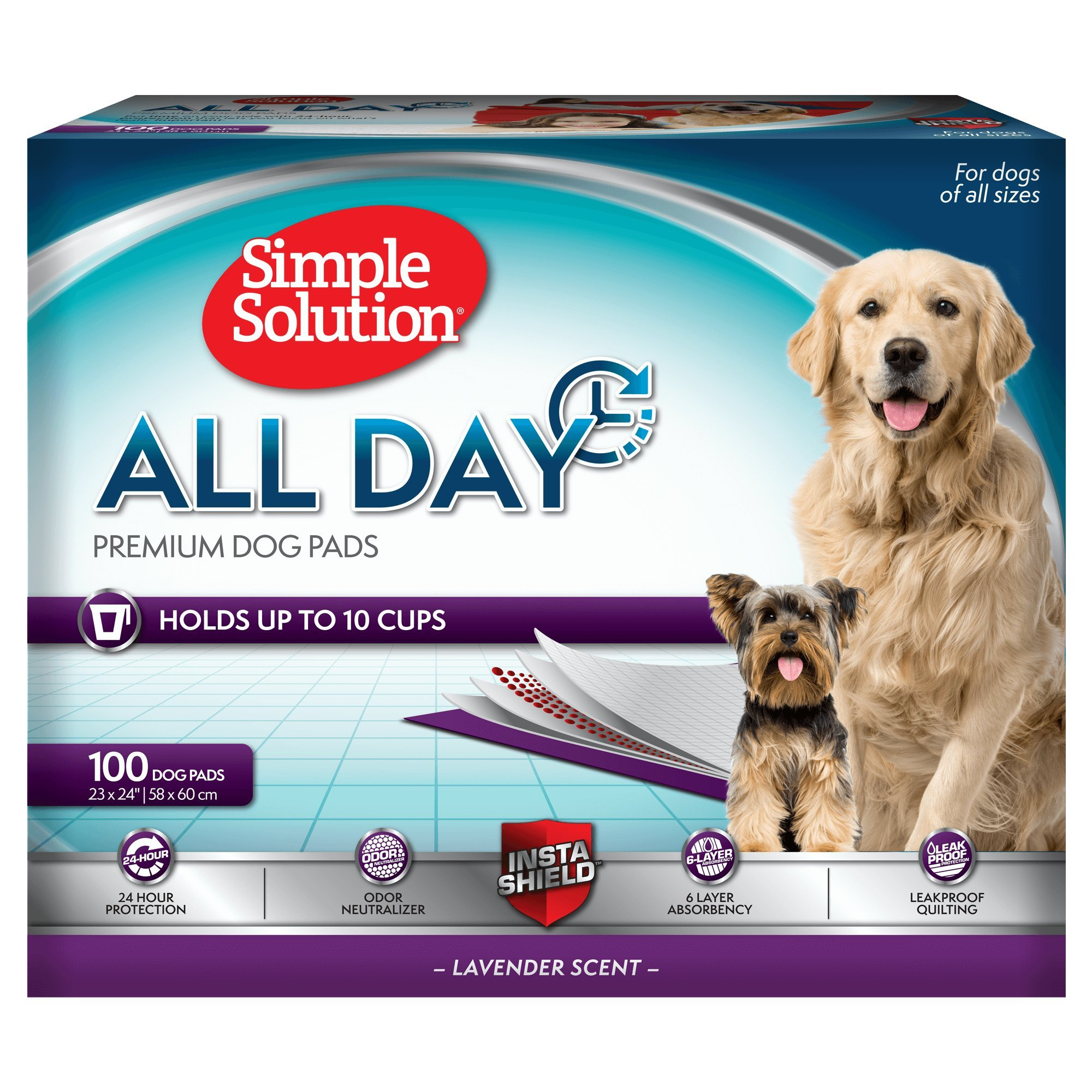 Simple Solution 6-Layer All Day Premium Dog Pads, 23 x 24, Lavender Scent, 100 pads by Simple Solution