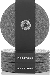 Coasters for Drinks Set of 9, Absorbent Felt Coasters with Double Holder, Unique Phone Coaster, Premium Package, Perfect Housewarming Gift Idea, Protects Furniture, Table, Desk (Round, Gray)