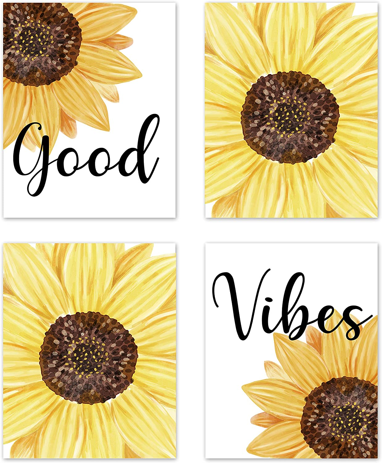 Farmhouse Good Vibes Yellow Sunflower Inspirational Sayings Rustic Wall Art Posters Home Room Decor Flower Boho Floral Pictures Prints Decorations Women Girls College Living Room Bedroom Bathroom