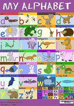 Alphabet Poster - Full Colour Illustrated A2 Children's Alphabet ...