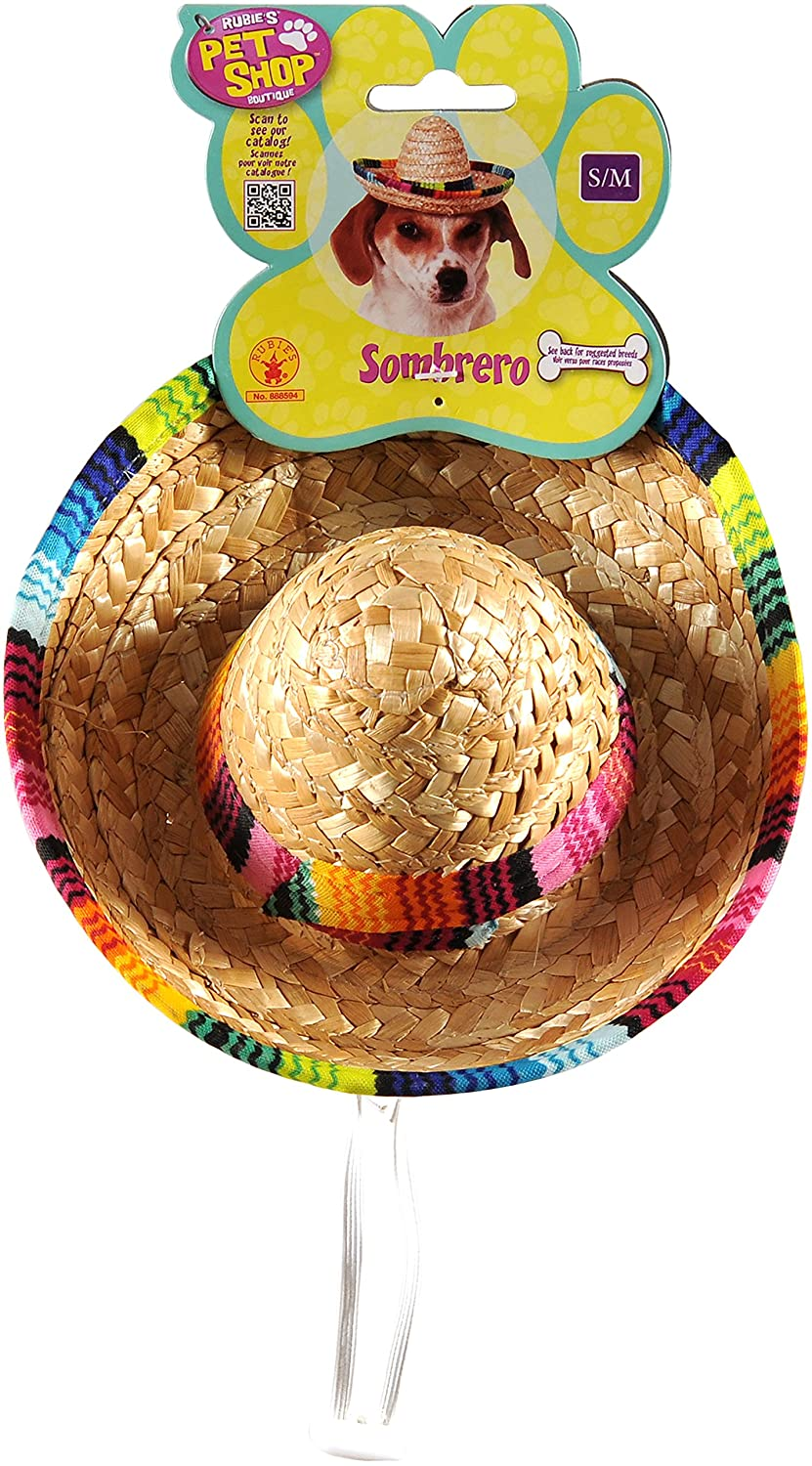 Rubies Pet Sombrero Hat with Multicolor Trim Small/Medium Rubies Costume Company 888594 S-M