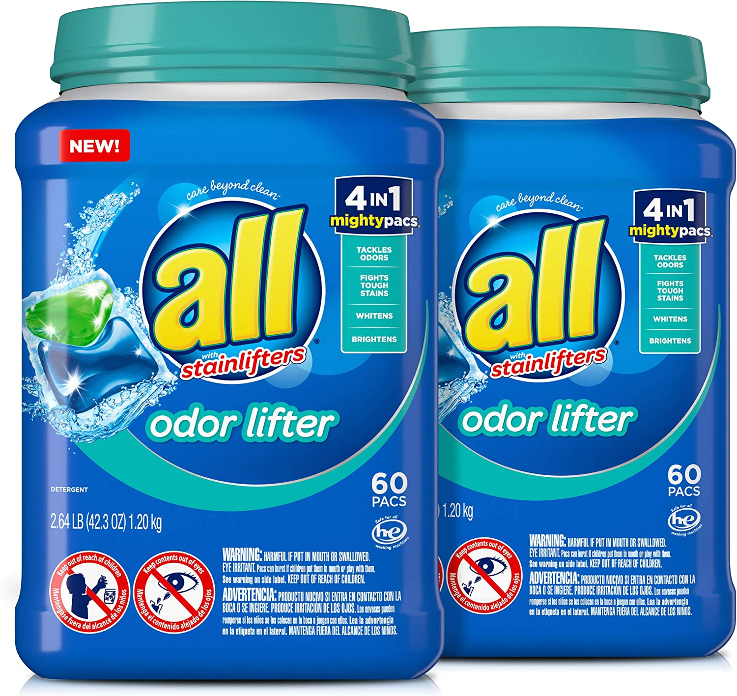 all Mighty Pacs Laundry Detergent, 4 in 1 with Odor Lifter, 60 Count, Pack of 2, 120 Total Loads