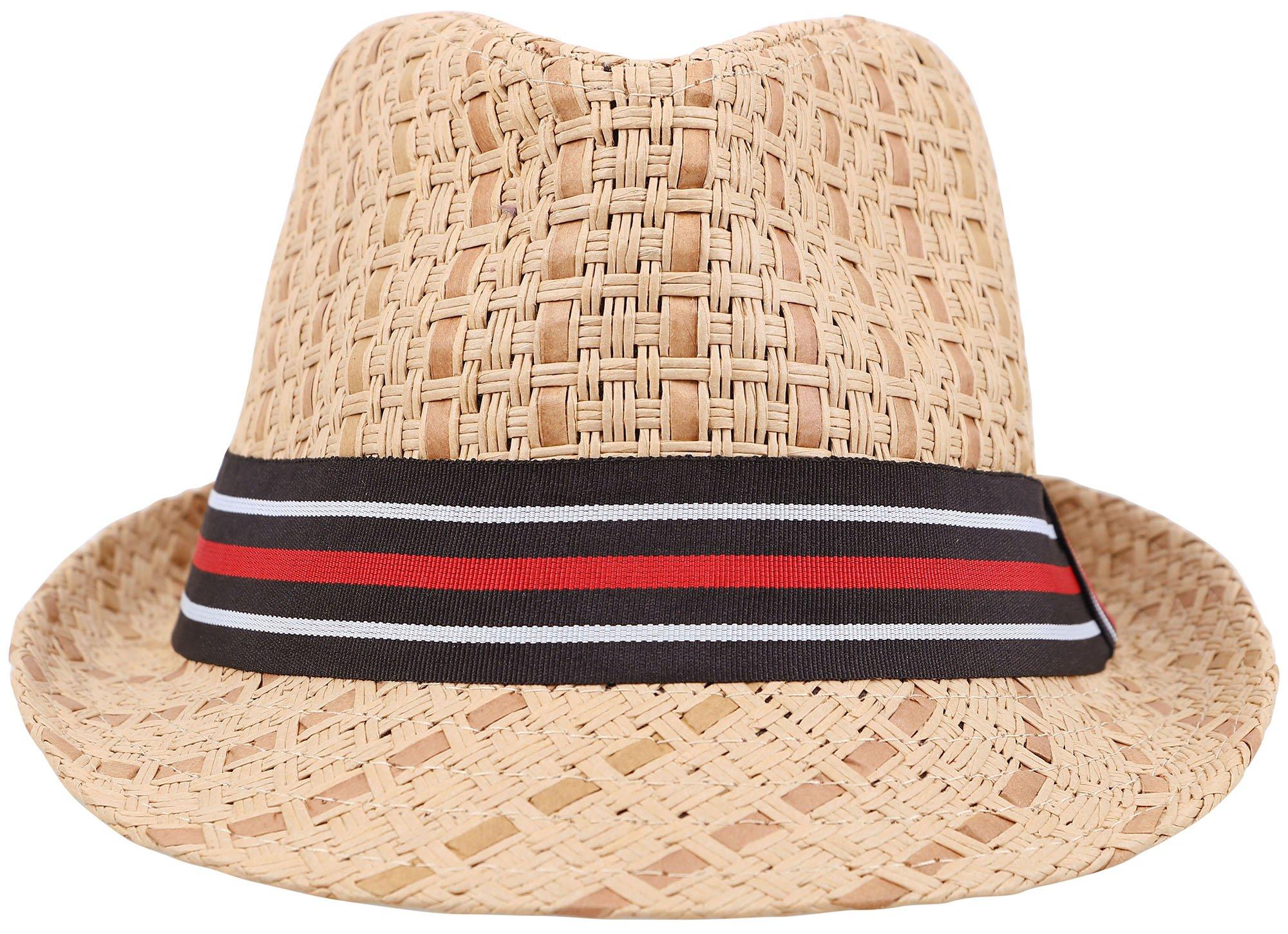EPGU Women's Bohemian Summer Straw Fedora Hat w/Contrast Hat Band, Brown/Black LXL