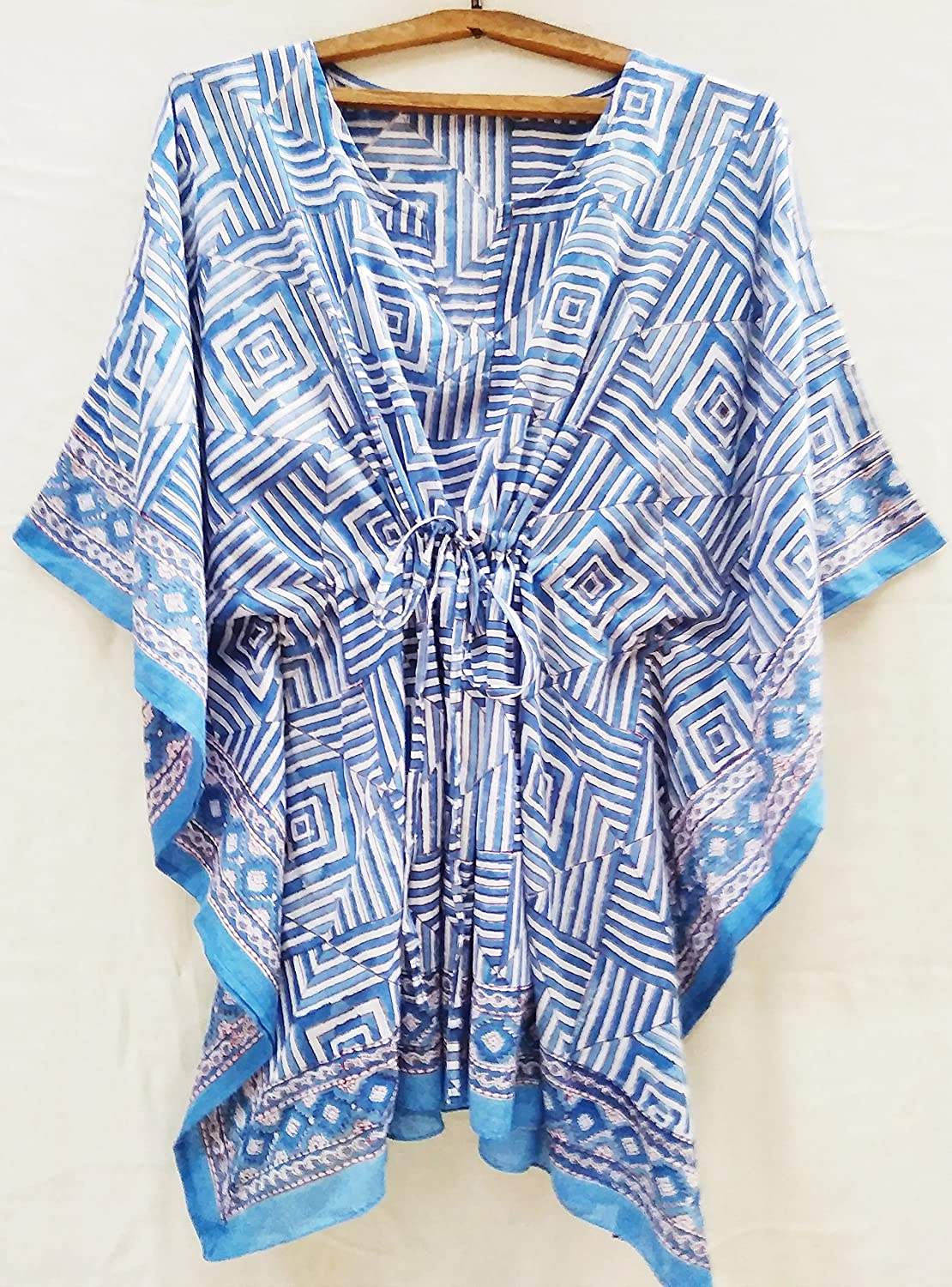 Blue & White Art Deco Anokhi style Hand Block Print Indian cotton Kaftan Tunic top One size