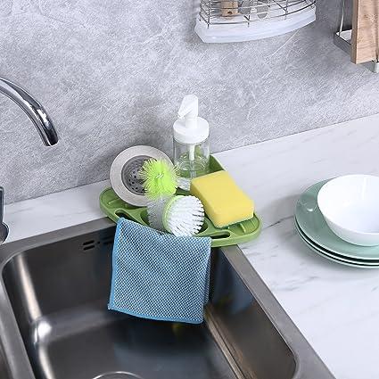 ATTBEE Kitchen Sink Caddy Sponge Holder Scratcher Holder Cleaning Brush  Holder Sink Organizer(Green)