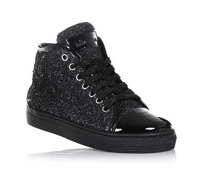 6278bae1fdf MISS GRANT - Sneaker à lacets noire en tissu avec glitter