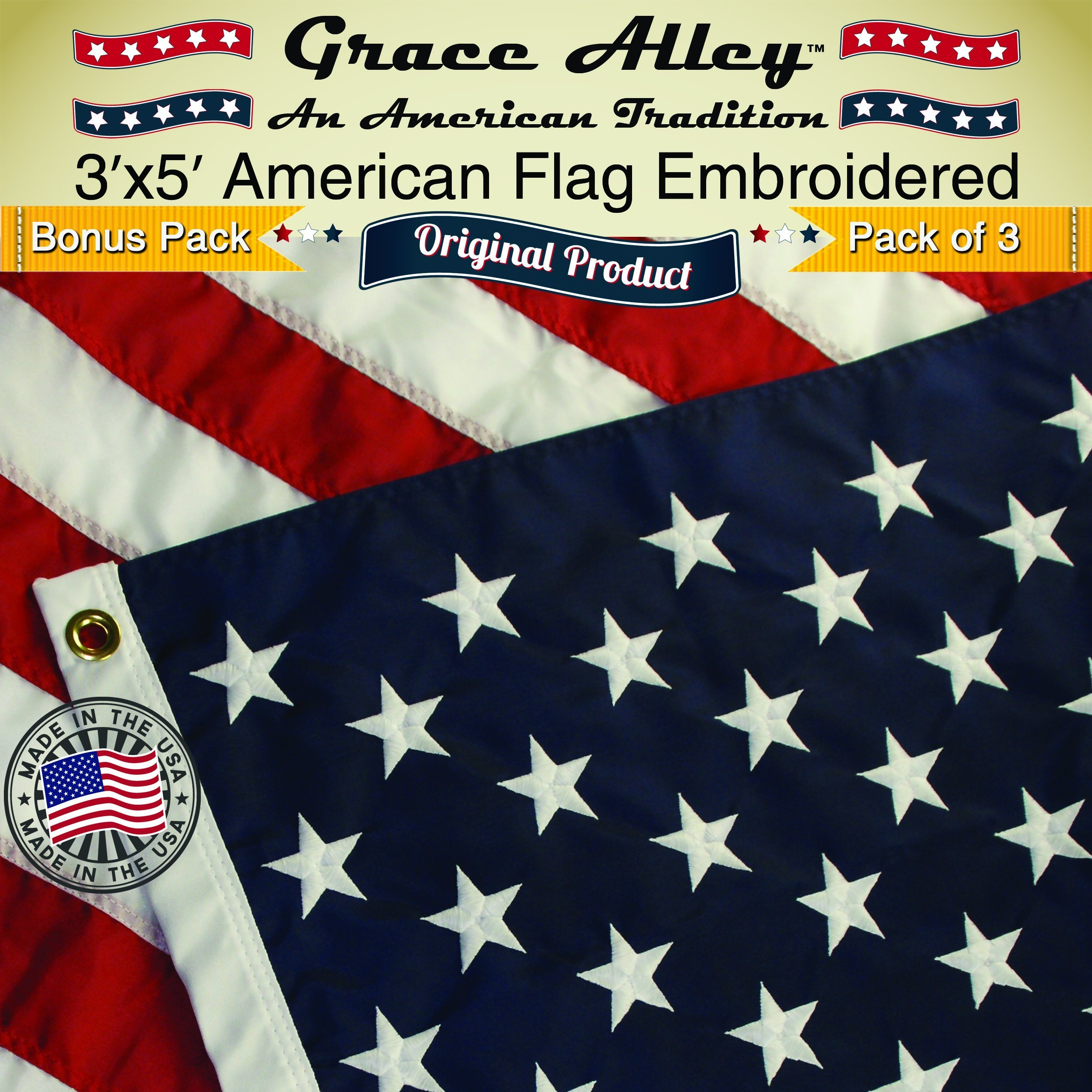 American Flag Bonus 3 Pack 3x5 ft. Quality Embroidered Stars and Sewn Stripes by Grace Alley (Image #1)